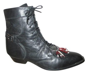 Durango Leather Ankle Western Granny Lace Up black Boots