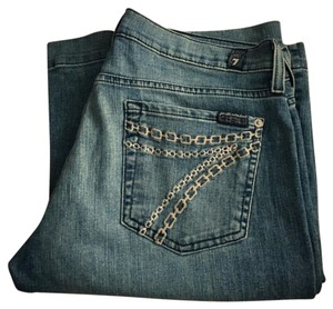 7 For All Mankind Trouser/Wide Leg Jeans-Light Wash