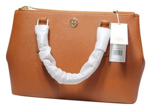 Tory Burch Robinson Leather Camel Tote in Luggage tan