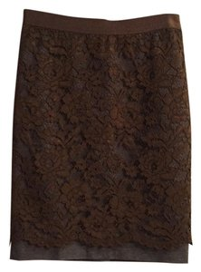 Ann Taylor LOFT Skirt Olive green lace over gray body