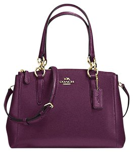 Coach Carryall 34797 36704 Christie Satchel in plum gold
