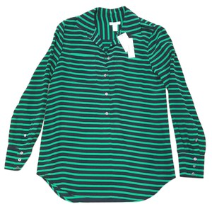 J.Crew Button Down Shirt navy and Kelly green stripe