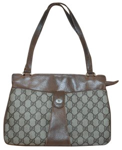 Gucci Accessory Collection Made In Italy Rare Monogram Satchel in Brown