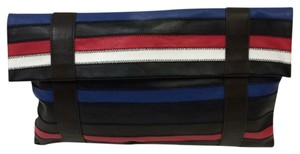 Worth Leather Black Red White Blue and Brown Clutch