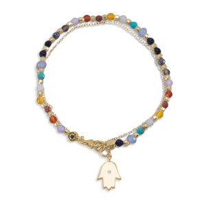 New Arrival NEW Gold Plated Multistone Bracelet with Hamsa Charm