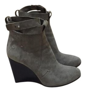 CoSTUME NATIONAL Wedge Ankle Wrap Grey Suede Boots