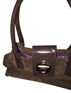 Kate Spade Satchel in Suede brown with crocodile fabric