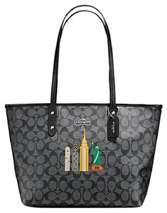 Coach Satchel F34103 36876 Tote in BLACK SIGNATURE