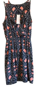 Collective Concepts short dress dark blue with coral accents on Tradesy