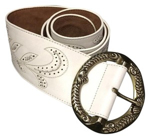 Cole Haan Cole Haan Cream Leather Belt with Brass Toned Buckle L Large