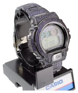 G-Shock Mens Purple Big Face G-shock Watch Iced Out Bezel Band Dw6900