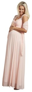 PinkBlush Light Pink Lace Accent Chiffon Maternity Evening Gown