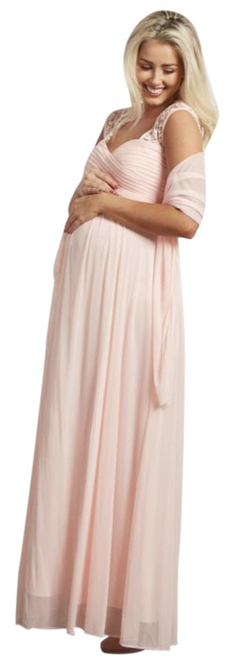 PinkBlush Light Pink Lace Accent Chiffon Evening Gown Maternity ...