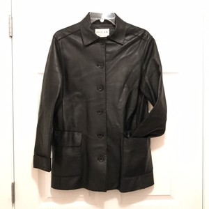 Oscar de la Renta Leather Coat