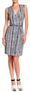 Diane von Furstenberg short dress Black, White Wrap Summer Silk Animal Print on Tradesy