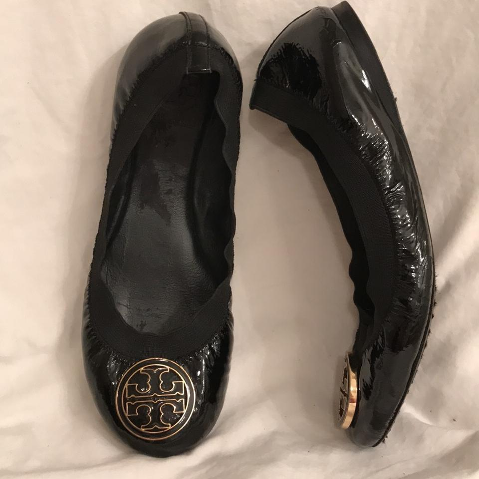 ef83fbaebb17 Tory Burch Black Caroline Ballet Patent Leather W Enameled Hardware Flats