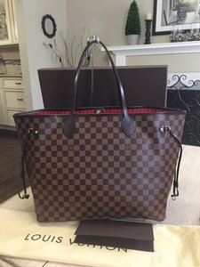 Louis Vuitton Neverfull Damier Ebene Totes Shoulder Bag