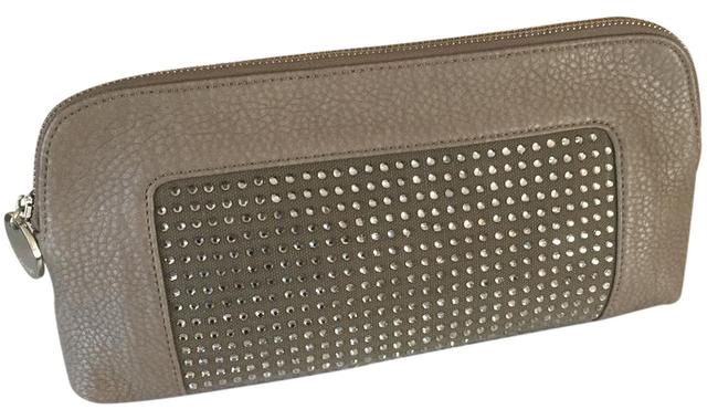 Item - (New ) Taupe with Crystals Faux Leather Clutch