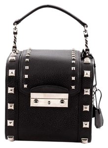 Versace Rare Studded Silver Hardware Jewel Case Satchel in Black