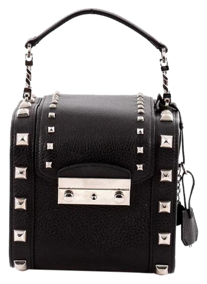 Versace Push with Studs    Baguette Black Leather Satchel - Tradesy 17d0edf1973bd
