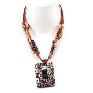 Other Island Seed Bead Necklace w/ Shell Tile Charm & Accents