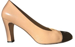 Chanel Lambskin Beige and Black Pumps
