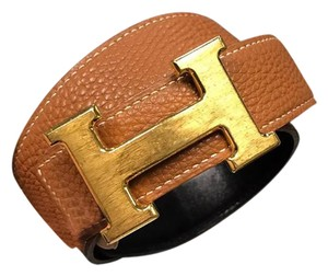 Hermès Hermes H Buckle Black & Brown Leather Reversible Belt, Size 75