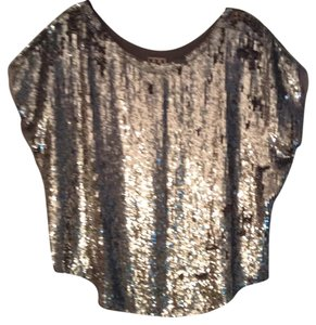 Haute Hippie Top silver sequins, light grey exposed lining