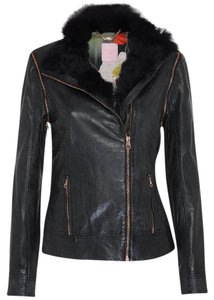 Ted Baker Faux Fur Leather Sleeveless black Leather Jacket