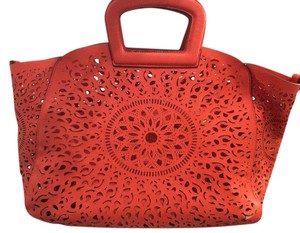 Melie Bianco Laser Cut Vegan Leather Pleather Faux Leather Tote in Orange Red