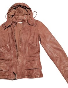 Vince Vintage Faux Leather brown cream Leather Jacket