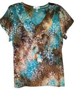 dressbarn Top Mixed Floral & Sequined Pattern