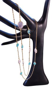 The Queens Closet Blue Chalcedony Rose Quartz Chain Necklace NEW 18K Gold Vermeil