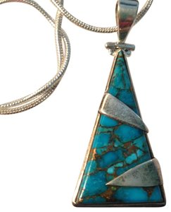 Blue Copper Turquoise Gemstone Pendant in Sterling Silver .925 NEW!!