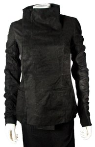 Rick Owens Blistered Leather Tall Neck Leather Jacket