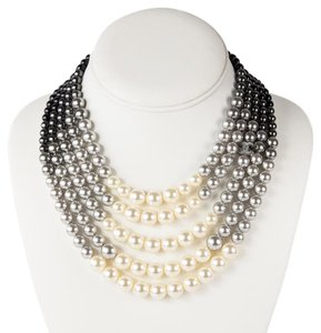 Chanel 2015 PEARL OMBRE NECKLACE - NEW GRADIENT GRAY WHITE BEAD MULTISTRAND C