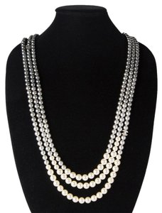 Chanel 2015 PEARL OMBRE NECKLACE XL NEW GRADIENT GRAY WHITE BEAD MULTISTRAND