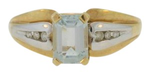 Other Diamond And Aquamarine Engagement Ring- 10k Yellow Gold