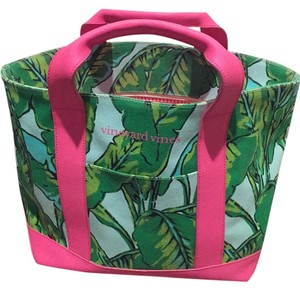 Vineyard Vines pink and green Beach Bag