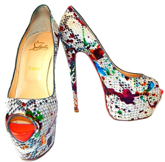 Christian Louboutin Peep Toe Leather Platform Snakeskin Daffodile Multi Color Pumps