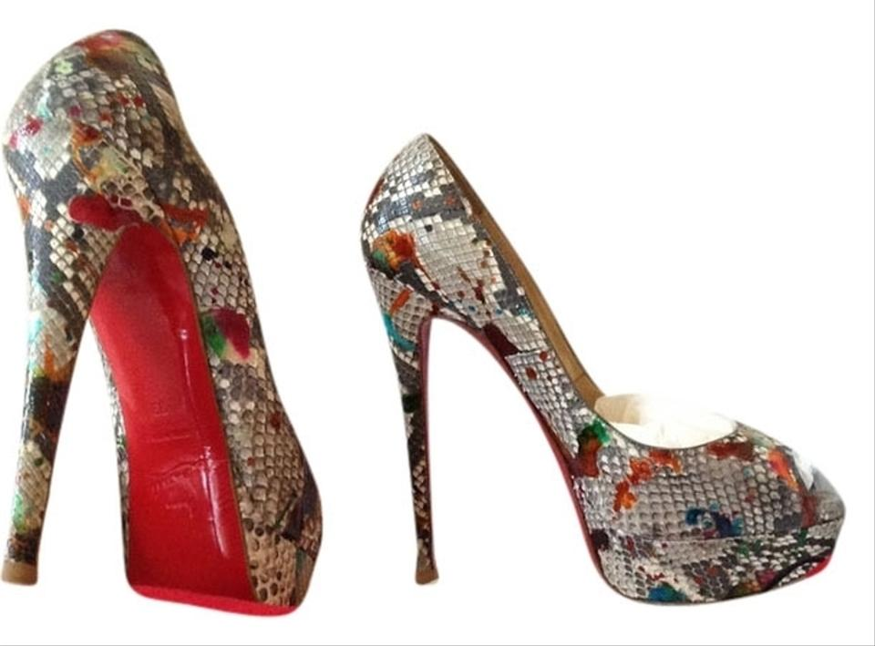 christian louboutin multicolor snakeskin pumps