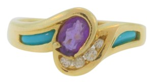 Other Turquoise Diamond And Amethyst Ring- 14k Yellow Gold