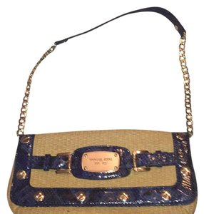 Michael Kors straw colored and blue and gold Clutch