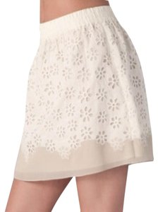 Club Monaco Lace Cutout Mini Skirt Tan/Cream