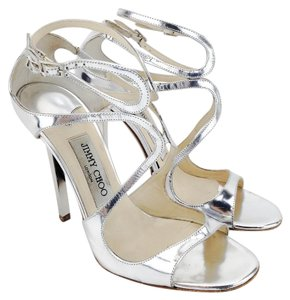 Jimmy Choo Mirror Leather Silver Metallic Lance Mirror Silver Sandals