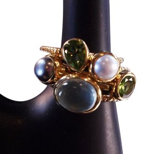 The Queens Closet Five Stackable Cluster Rings Peridot Pearl NWOT NEW Sz 9 18k Gold