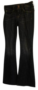 American Eagle Outfitters Casual Flare Leg Jeans-Dark Rinse
