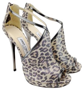 Jimmy Choo Leopard Suede Anthracite Mirror Leather Leopard/Anthracite Sandals