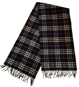 Burberry FINAL SALE! Burberry Cashmere Black and Lavender Check Scarf