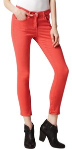 Rag & Bone Zipper Detail Brand New Never Worn Coral Cropped Denim Skinny Jeans